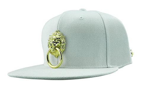 White Large Metal Lion Snapback