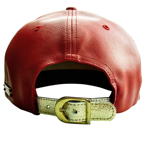 Red Faux Leather Cap with Large Lion and Gold Label