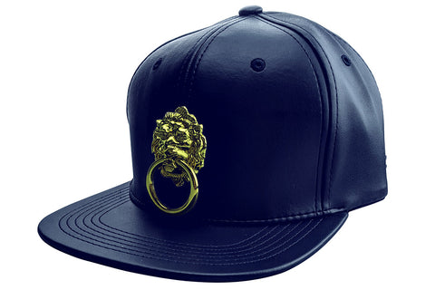 Blue Faux Leather Cap with Large Lion and Gold Label