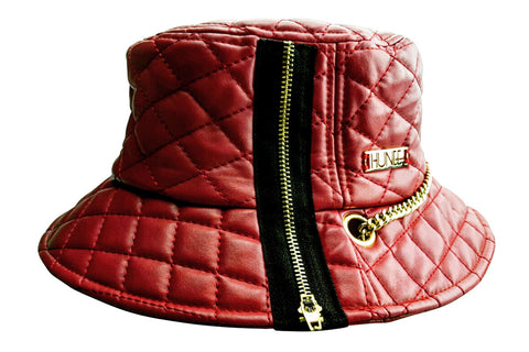 Coral Red Quilted Faux Leather Bucket Hat with Gold Label and Chain