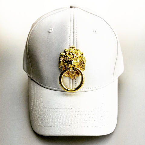 White Faux Leather Curved Bill Lion Head Cap