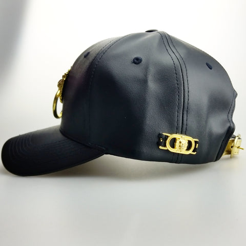 Faux Leather Curved Bill Lion Head Cap ( Black or White)