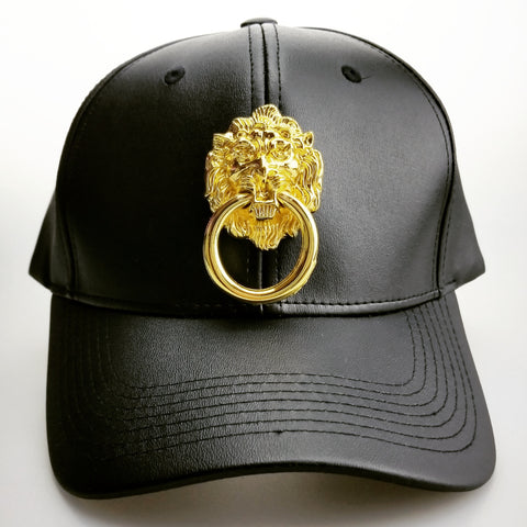 Black Faux Leather Curved Bill Lion Head Cap