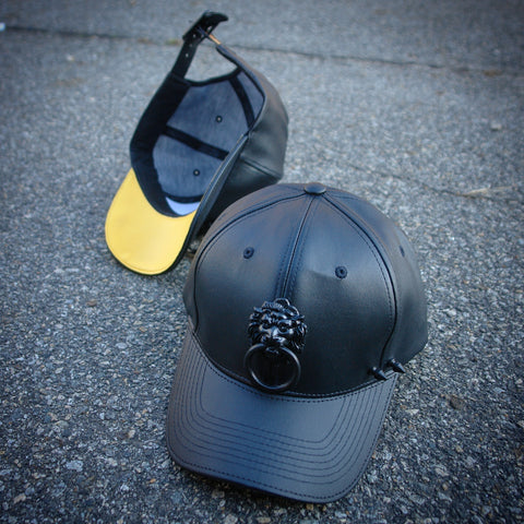 Black on Black Lionhead Hat with Yellow bottom