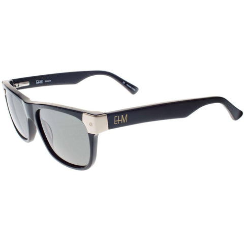 Shiny Black with Gold Tone Metal Wayfarer Sunglasses (Men's)