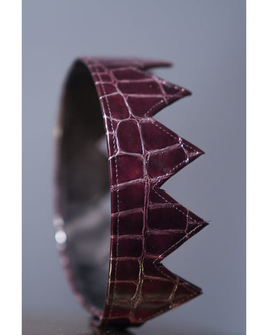 Dark Burgundy Crocodile Leather Crown