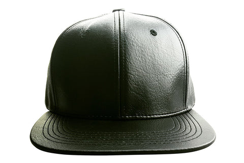 "Black ""CUPID"" Faux Leather Cap with Crown Closure and Side Cherub"