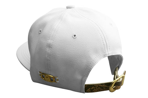 White Faux Leather LionHead Cap