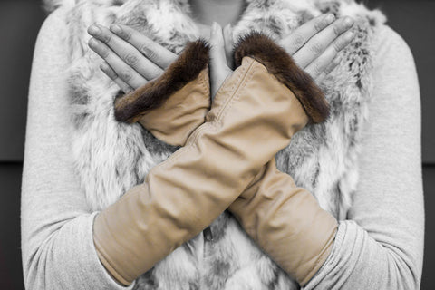 Tan Lamb Skin and Recycled Mink Knuckle Duster Gloves