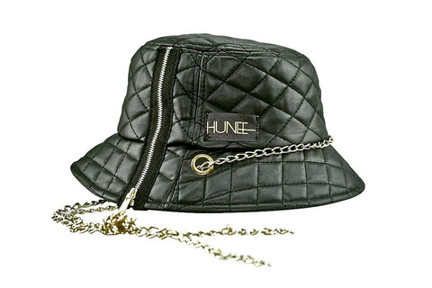Black Quilted Faux Leather Bucket Hat