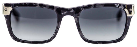 Shiny Marble with Silver Tone Metal Wayfarer Sunglasses