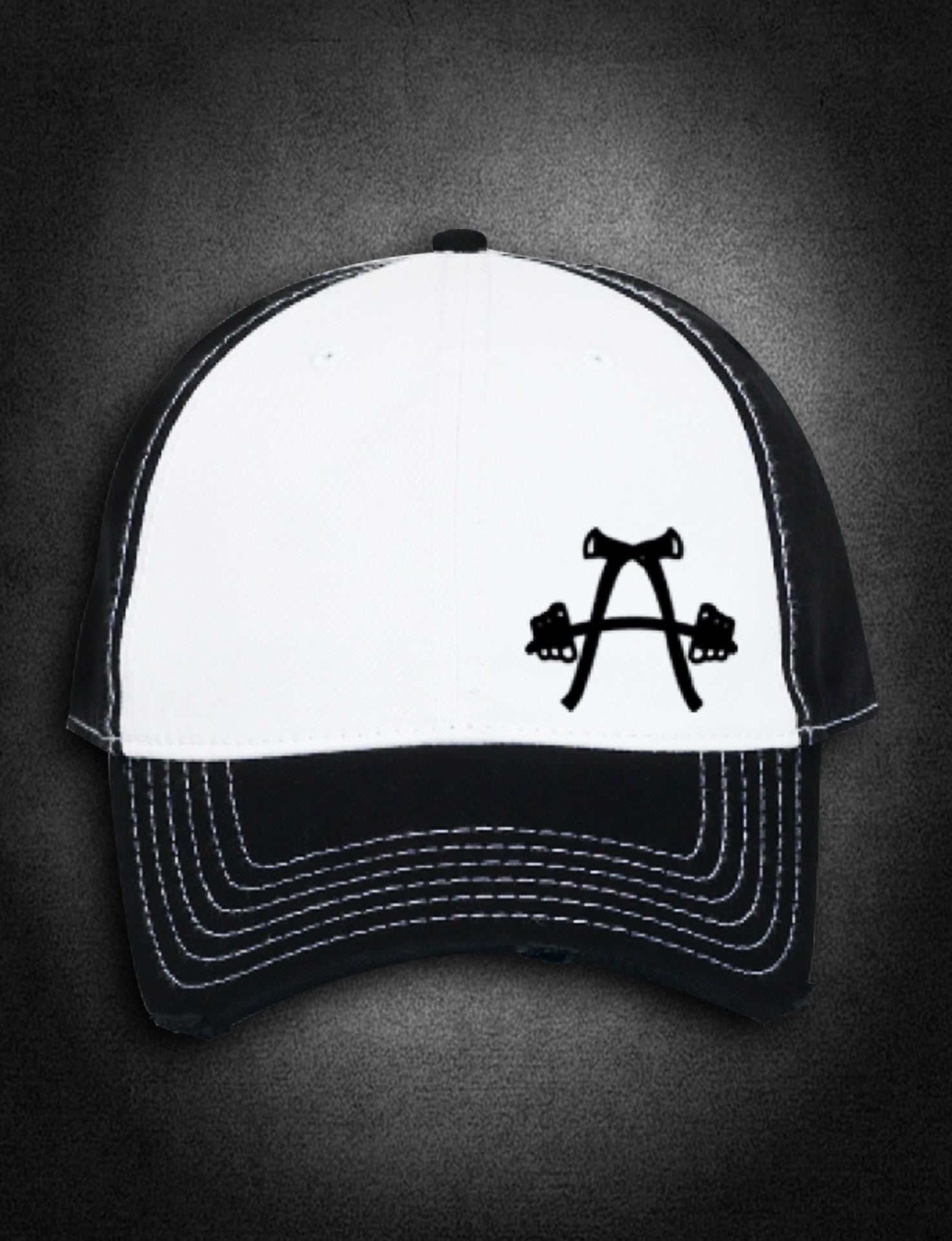 AFA Distressed Low Profile Hat Black/White - AmericanFireApparel  - 2