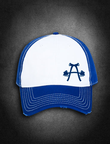 AFA Distressed Low Profile Hat Blue/White - AmericanFireApparel  - 2
