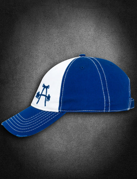 AFA Distressed Low Profile Hat Blue/White - American Fire Apparel