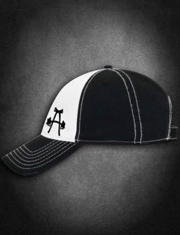 AFA Distressed Low Profile Hat Black/White - AmericanFireApparel  - 1