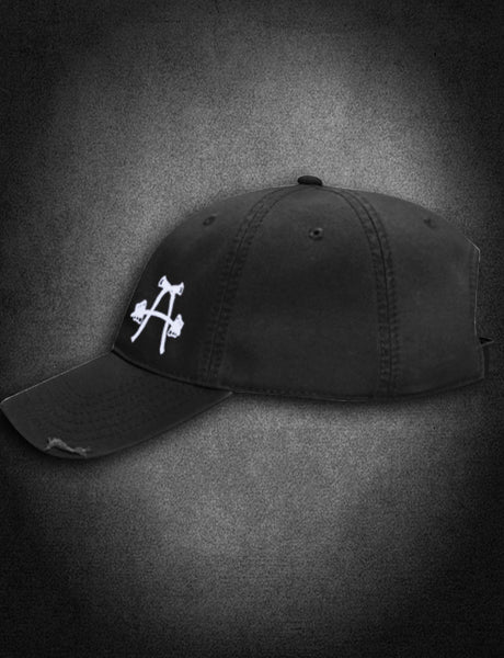 AFA Distressed Low Profile Hat Black - AmericanFireApparel  - 1