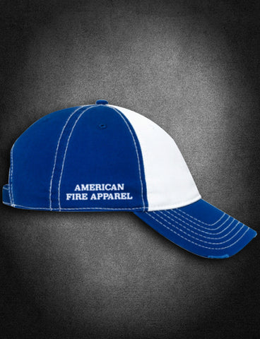 AFA Distressed Low Profile Hat Blue/White - AmericanFireApparel  - 3