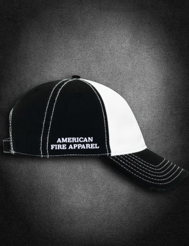 AFA Distressed Low Profile Hat Black/White - AmericanFireApparel  - 3