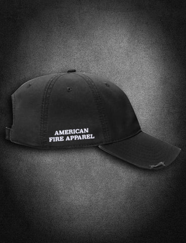 AFA Distressed Low Profile Hat Black - AmericanFireApparel  - 3