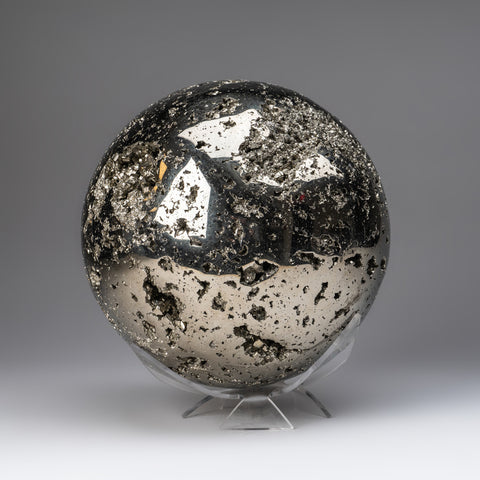 "Large Polished Pyrite Sphere from Peru (7.5"", 33.5 lbs)"