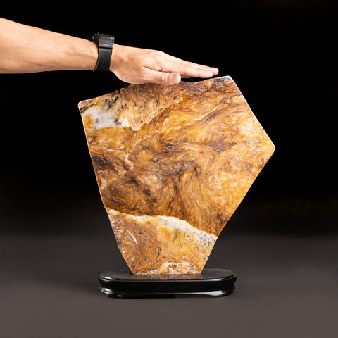 Large Polished Agate Slice on Wooden Stand (5.5 lbs)