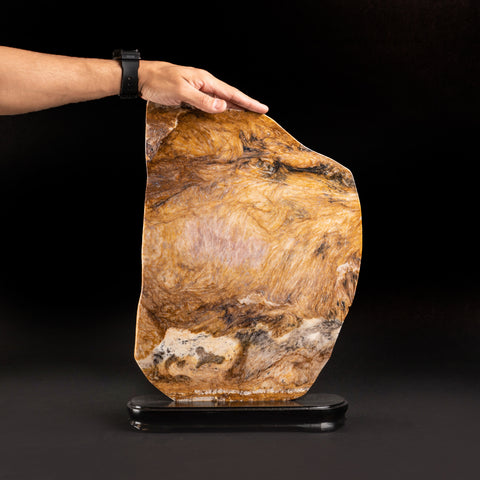 Large Polished Natural Agate Slice on Wooden Stand (4.5 lbs)