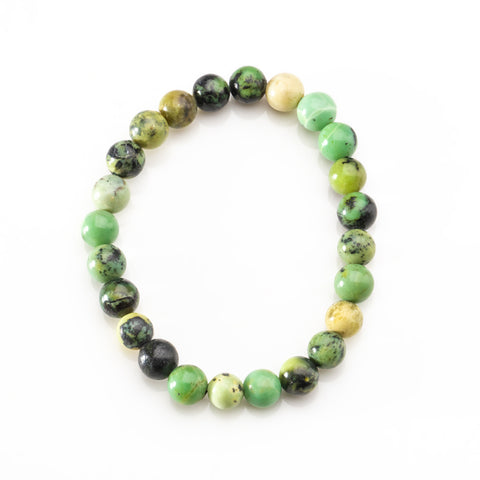 Chrysoprase 8mm Beaded 7 Inch Stretch Bracelet