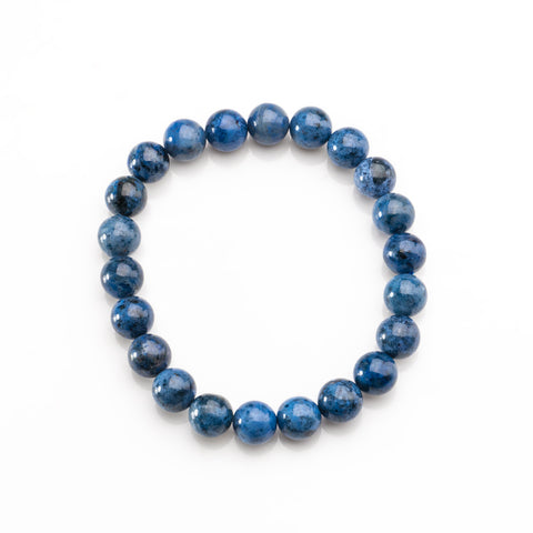 Dumortierite Gemstone 8mm Beaded 7 Inch Stretch Bracelet