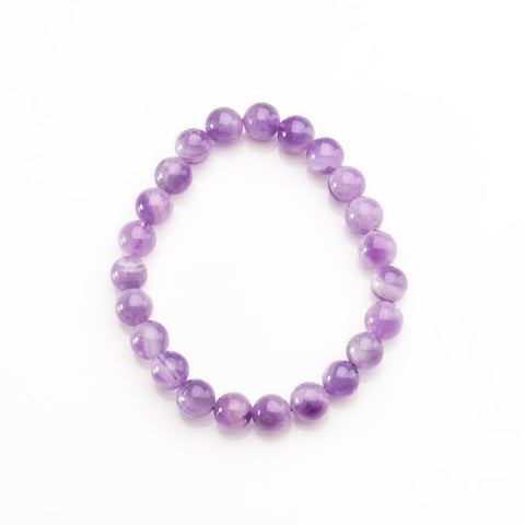 Chevron Amethyst 8mm Bead Stretch Bracelet