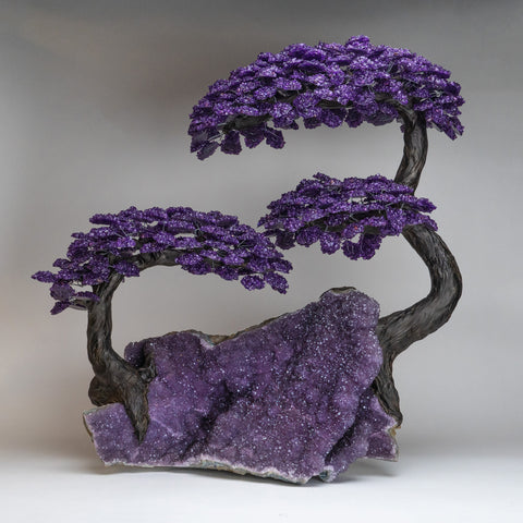 Custom Designed - Massive Genuine Amethyst Clustered Gemstone Tree on Amethyst Matrix (The Protection Tree)