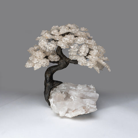 Custom - White Quartz Clustered Gemstone Tree on Quartz Matrix (The Healing Tree)