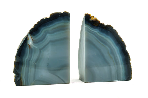 Blue and Grey Banded Agate Bookends (2 lbs) from Brazil