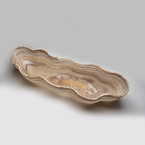 Large Polished Natural Onyx Canoe Bowl from Mexico (31.6 lbs)