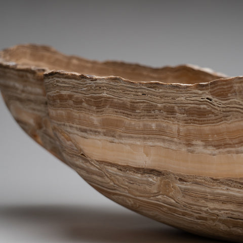 Large Polished Natural Onyx Canoe Bowl from Mexico (28 lbs)