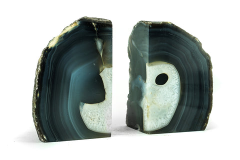 Blue and White Banded Agate Bookends (4 lbs) from Brazil