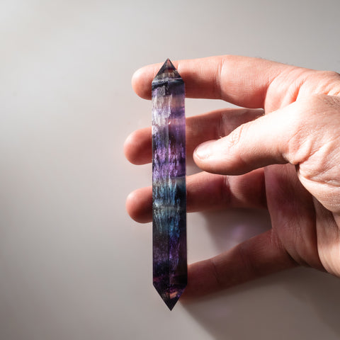 Double Terminated Rainbow Banded Fluorite From Mexico (67.5 grams)