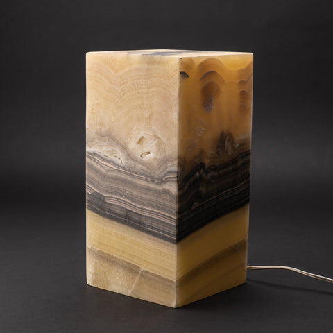 "Natural Square Onyx Desk Lamp from Mexico (12"", 10.4 lbs)"