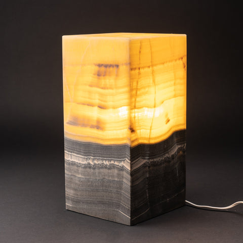 "Natural Square Onyx Desk Lamp from Mexico (12"", 9 lbs)"