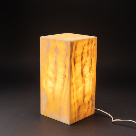 "Natural Square Onyx Desk Lamp from Mexico (12"", 10.8 lbs)"