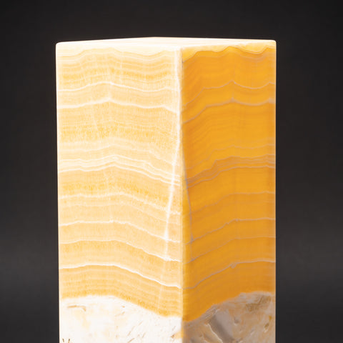 "Natural Square Onyx Desk Lamp from Mexico (16"", 11.5 lbs)"