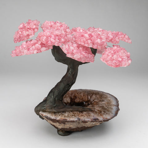 Genuine Rose Quartz Clustered Gemstone Tree on Citrine Matrix (The Love Tree)