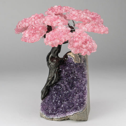 Custom - Genuine Rose Quartz Clustered Gemstone Tree on Amethyst Matrix (The Love Tree)