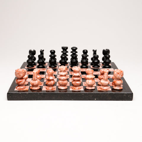 Small Black and Pink Onyx chess set