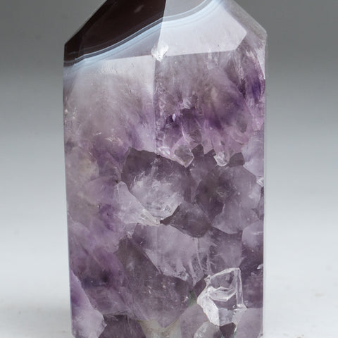 Polished Agate with Amethyst Obelisk from Brazil (1.2 lbs)