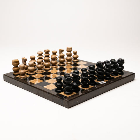 Small Brown with Black and Natural Onyx chess set