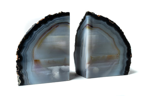 Blue Banded Agate Bookends (3 lbs) from Brazil