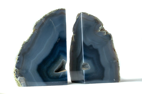 Natural Blue Banded Agate Bookends (5.5 lbs) from Brazil