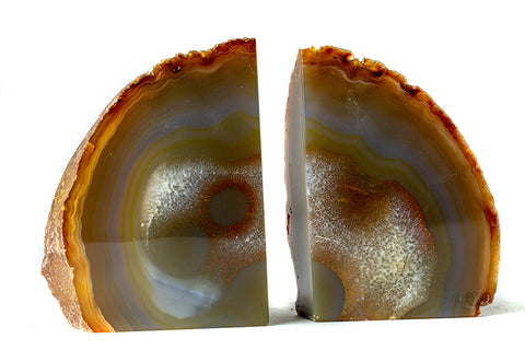 Natural Banded Agate Bookends (2.5 lbs) from Brazil