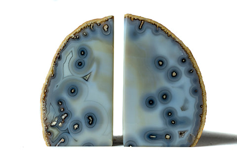 Natural Blue Banded Agate Bookends (3.5 lbs) from Brazil
