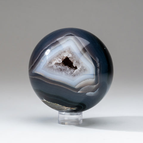 "Blue Agate Geode Sphere from Brazil (3.75"" diameter, 2 lbs)"